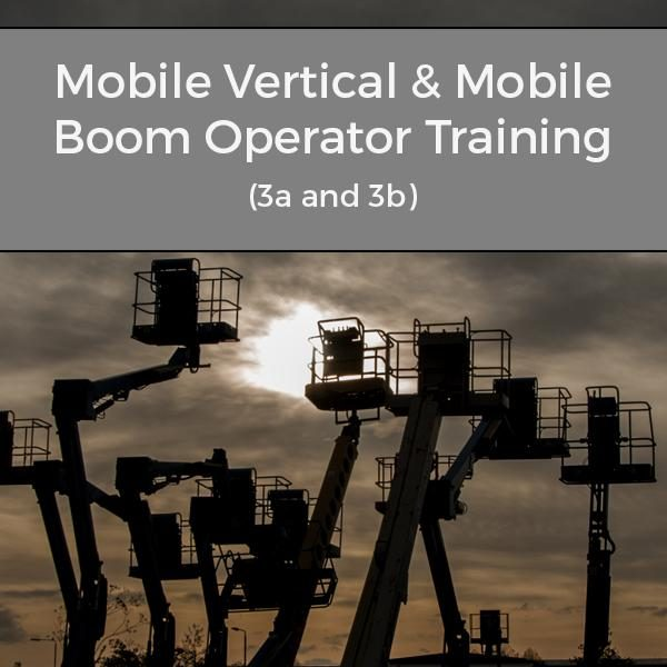 IPAF 3a and 3b Training Course Mobile Vertical and Mobile Boom Operator image with cranes silhouetted