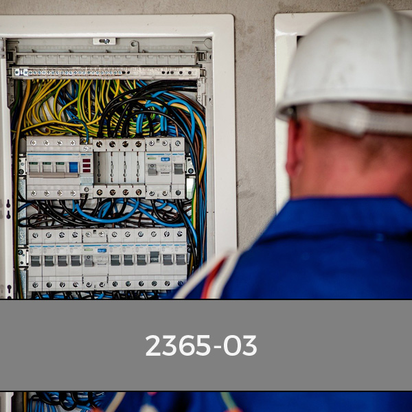 Electrician from behind looking at a concumer unit on a city & guilds 2365 course